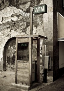 Awesome old wooden ATM in Austin, TX