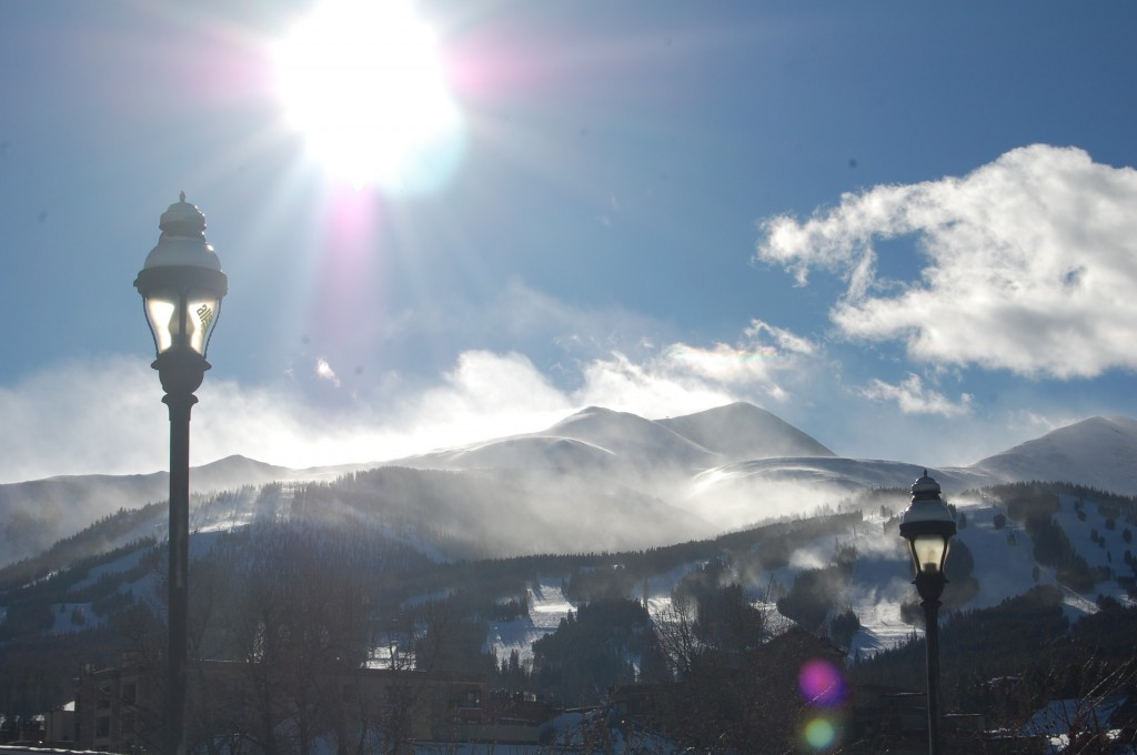 Sun and snow on the mountains in Breckenridge