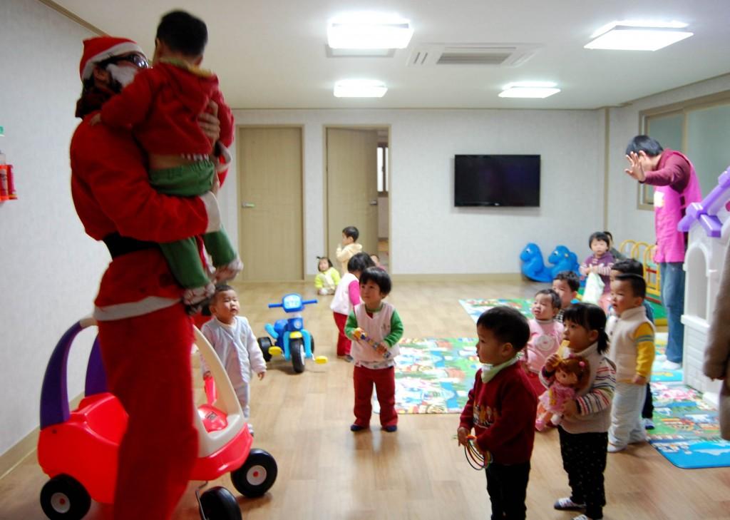 Santa visiting a Korean orphanage