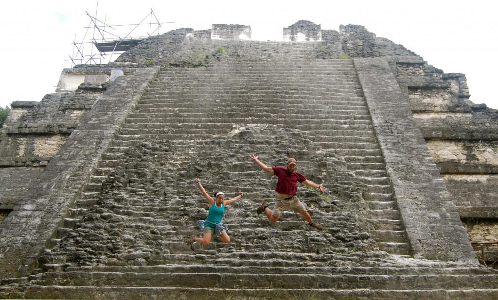 Jumping off a pyramid in Tikal, Guatemala