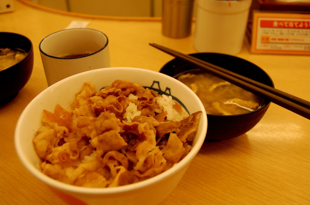 Beef bowl (donburi) in Tokyo.