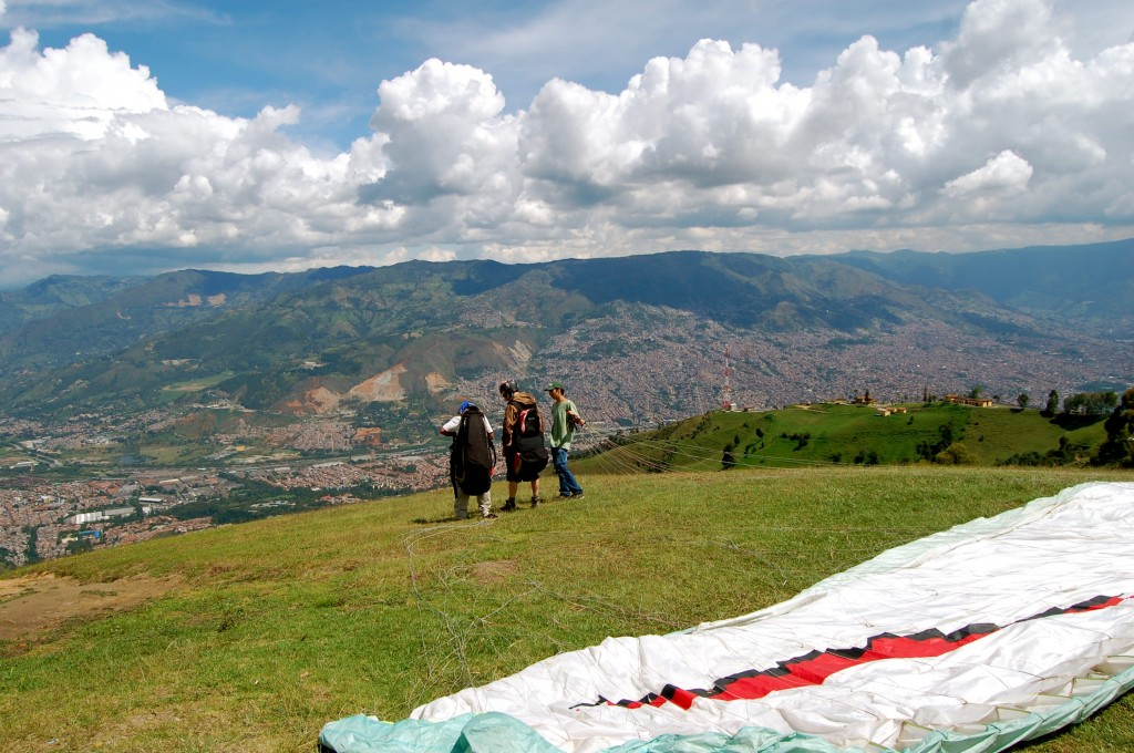 Getting ready to paraglide in Medellin, Colombia