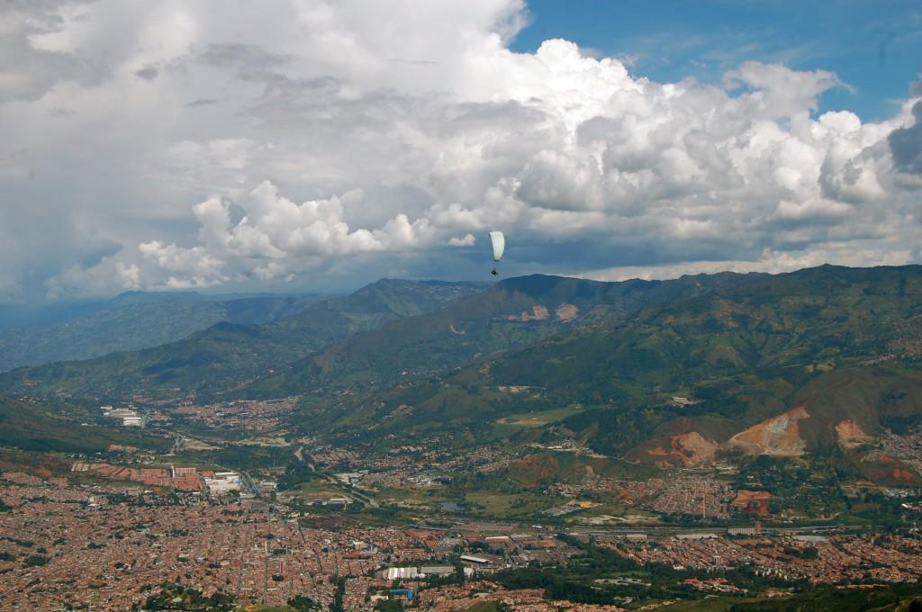 Paraglider over Medellin, Colombia