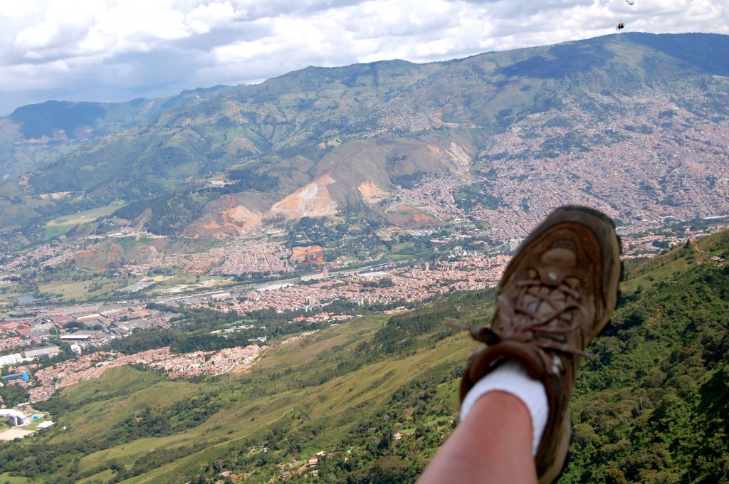 Foot while paragliding in Medellin, Colombia