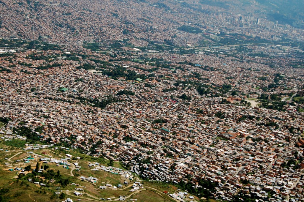 View of Medellin, Colombia from a paraglide
