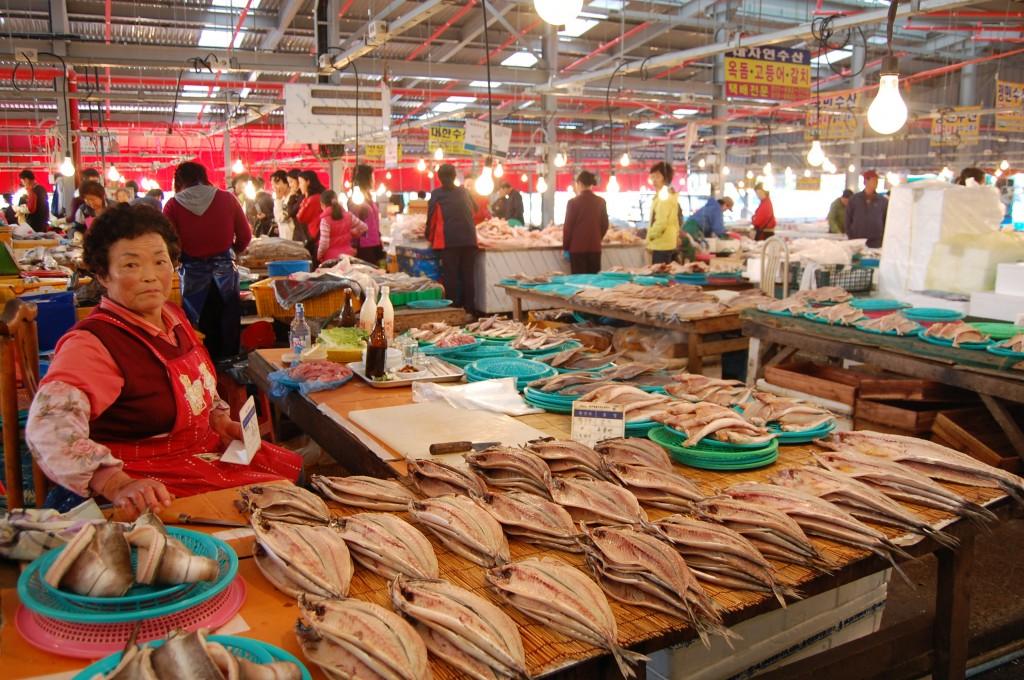 Fish at 5-day market in Jeju, South Korea