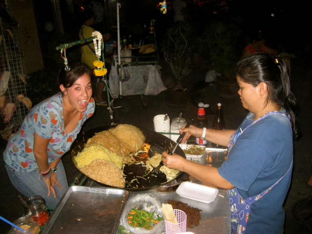 Lady making pad thai on the streets of Bangkok, Thailand