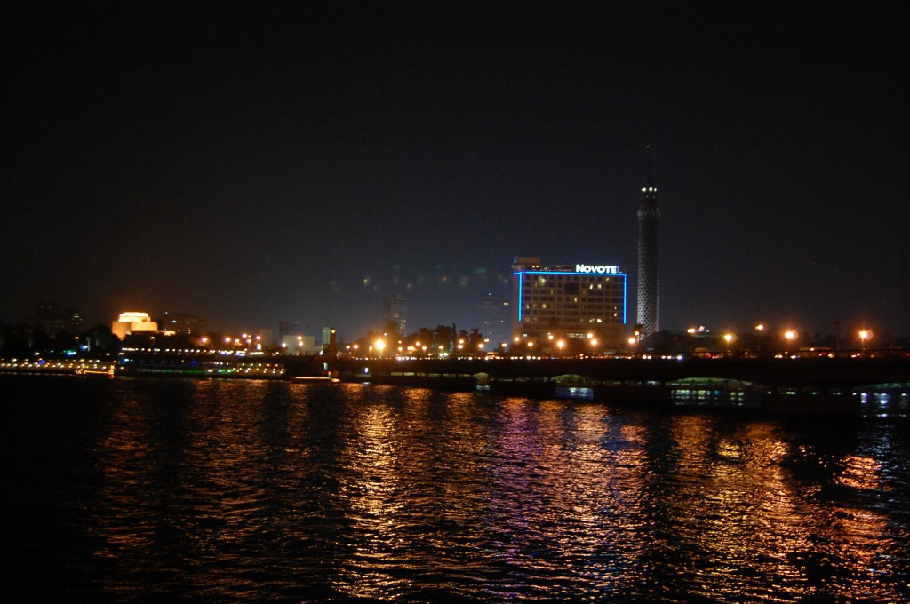 Nile River and Cairo skyline at night