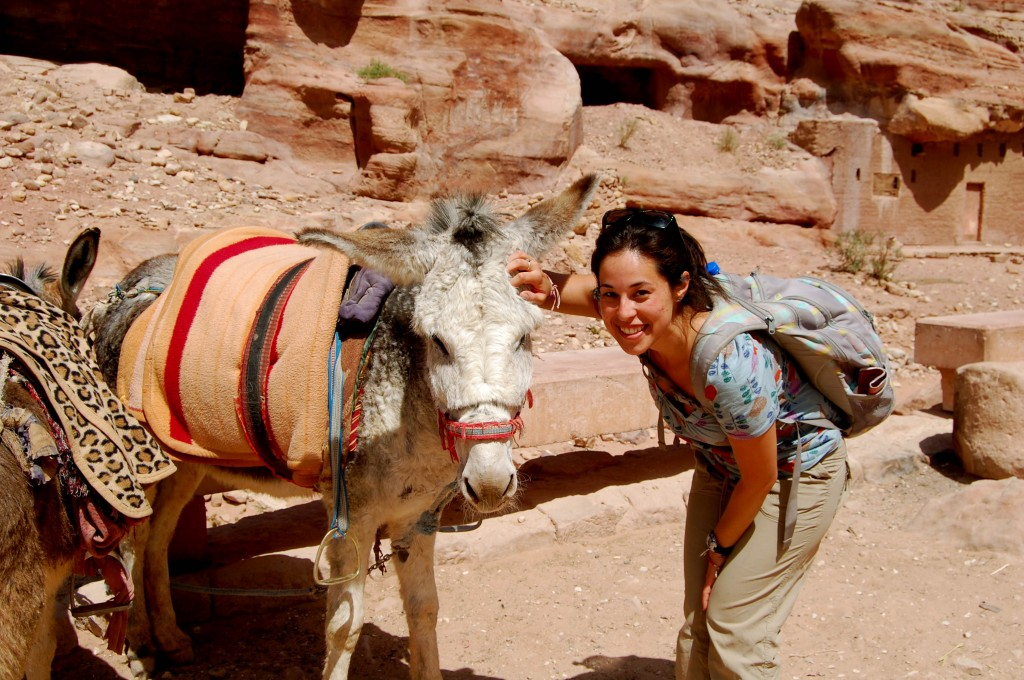 Susan and donkey at Petra, Jordan