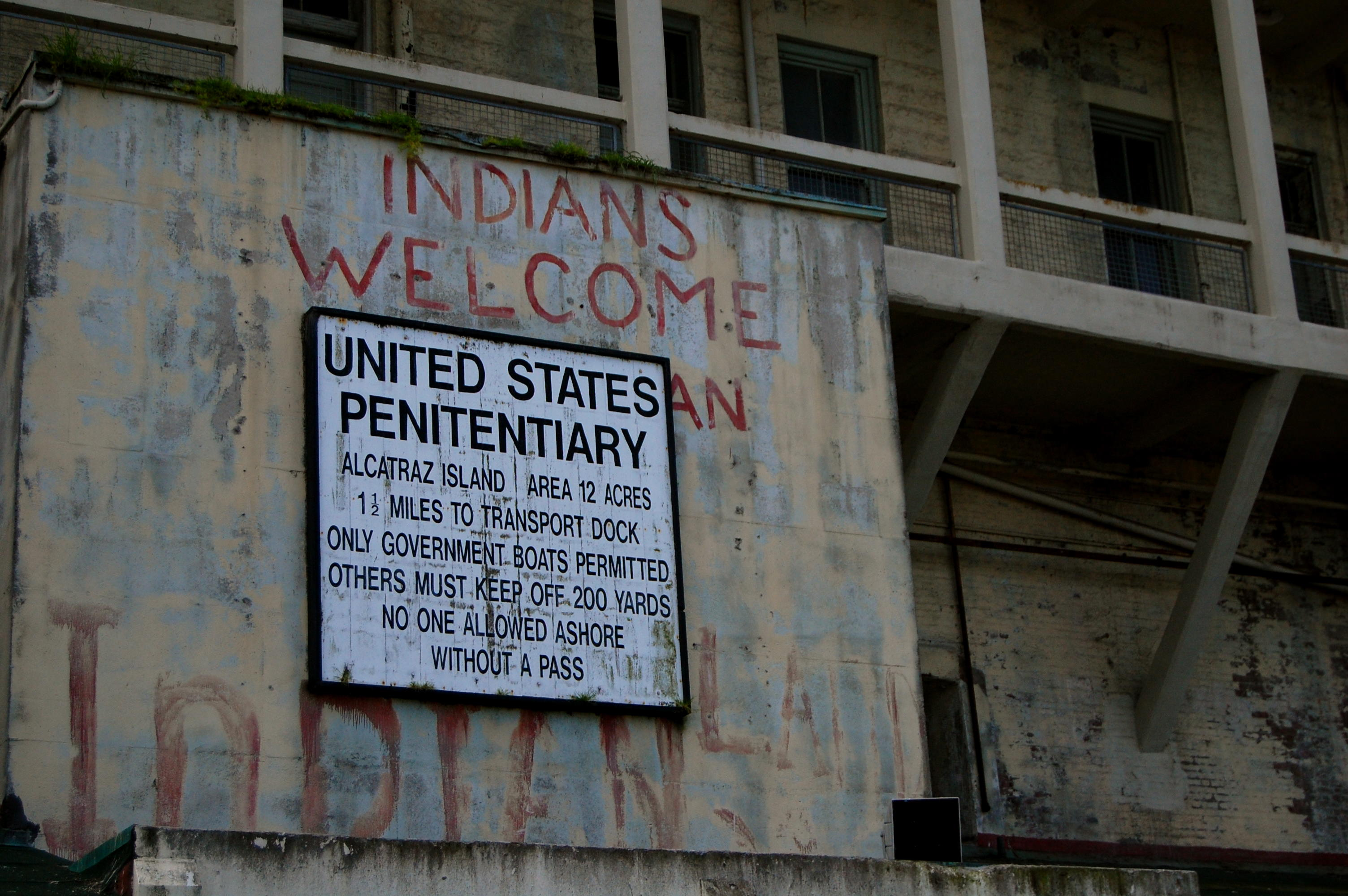 Entrance sign at Alcatraz