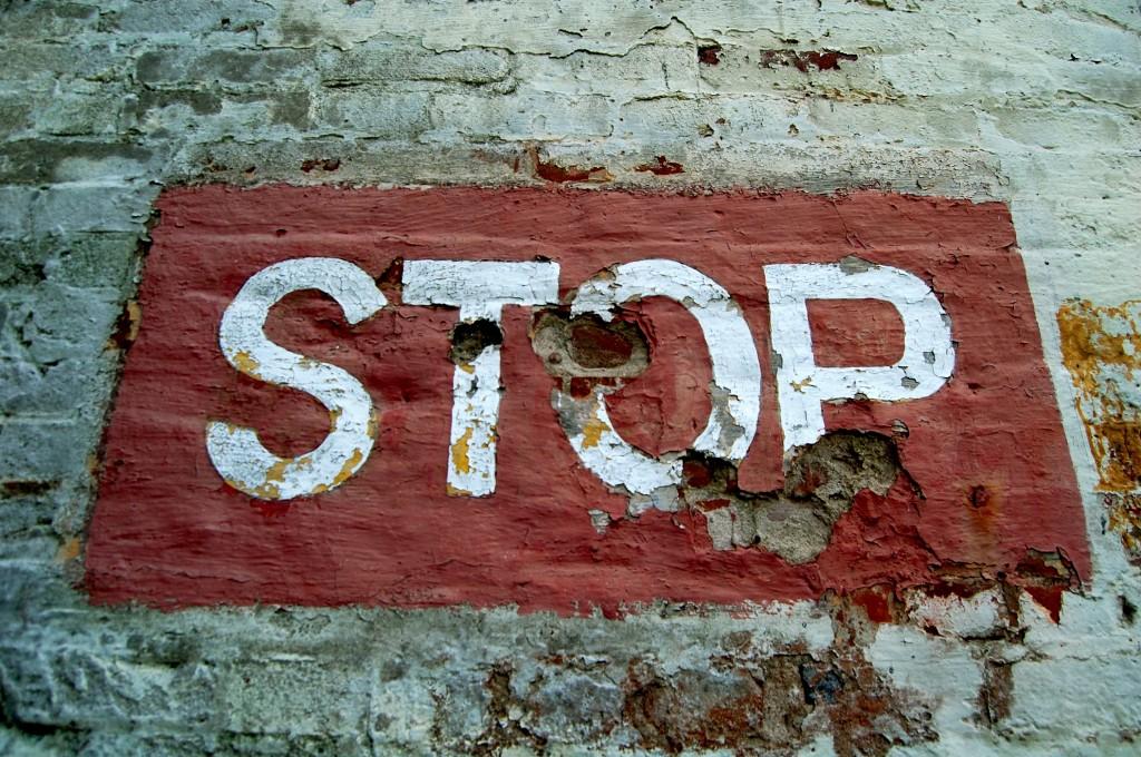 Stop sign at Alcatraz.