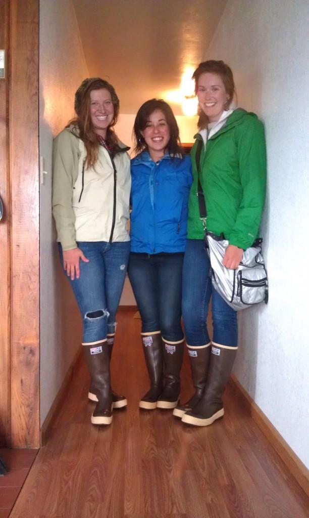 Girls wearing Xtratuf rainboots