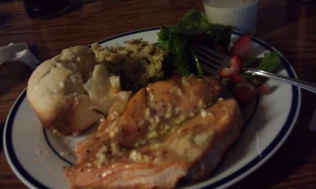Alaskan king salmon dinner