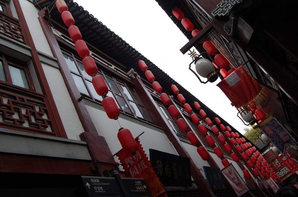 Red lanterns hanging in Shanghai, China