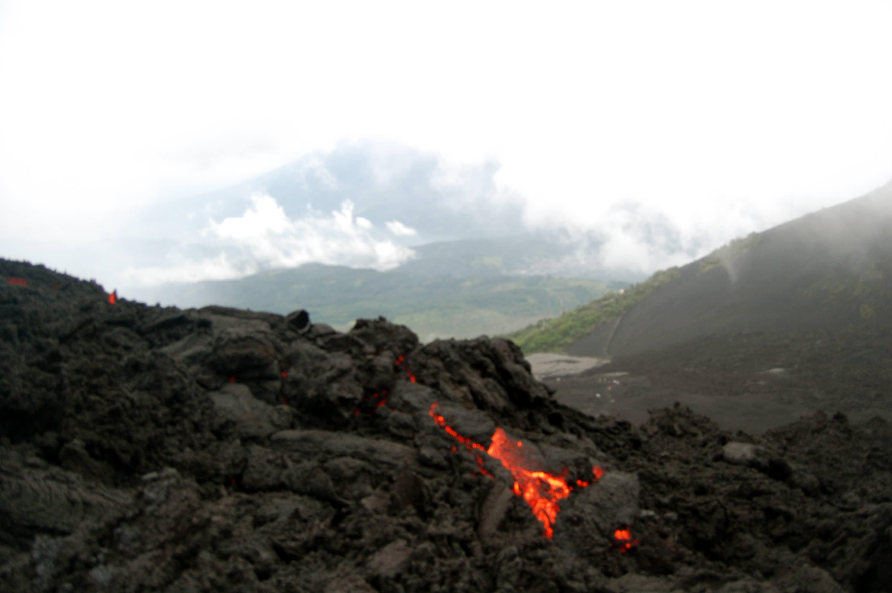 View of lava on Pacaya Volcano in Guatemala