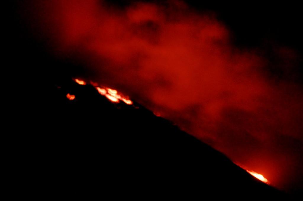 Lava flowing down Pacaya Volcano in Guatemala