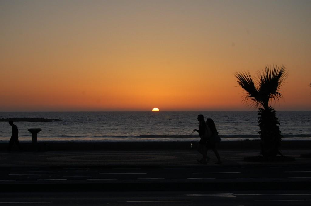 Beach sunset in Tel Aviv, Israel
