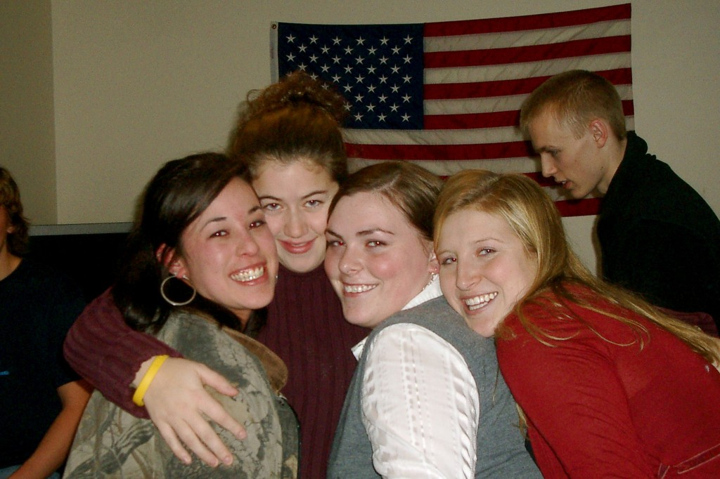 Girls and American flag