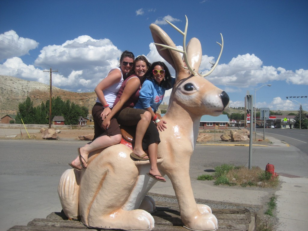 Girls riding a jackalope in Wyoming