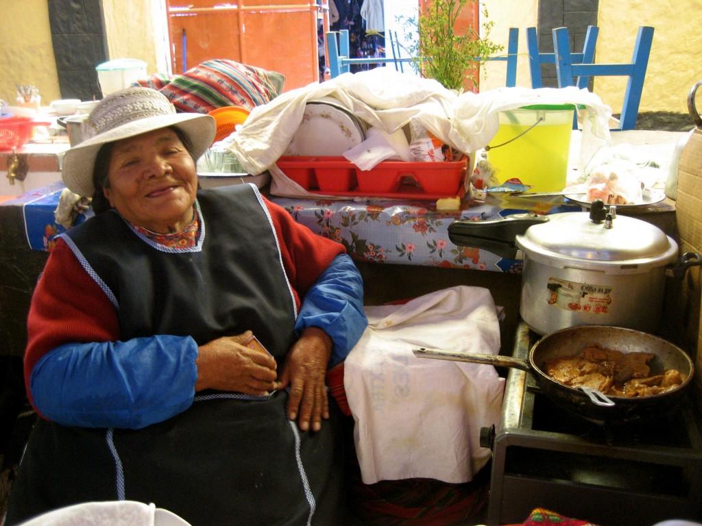 Peruvian lady at market