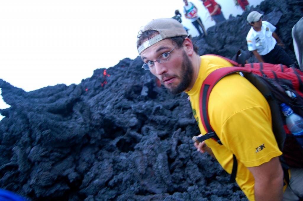 Standing on top of Pacaya Volcano in Guatemala