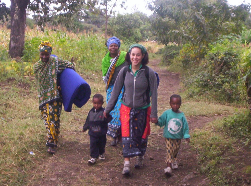 Walking with host family in Tanzania