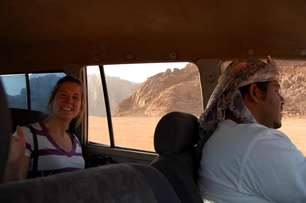 Driving through the Wadi Rum Desert