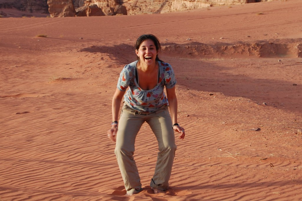Jumpy pic in the Wadi Rum Desert in Jordan