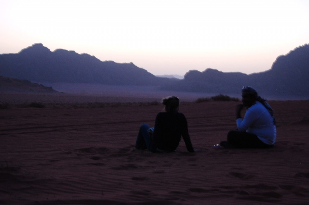 Watching the sun set with the Bedouin in the Wadi Rum Desert in Jordan