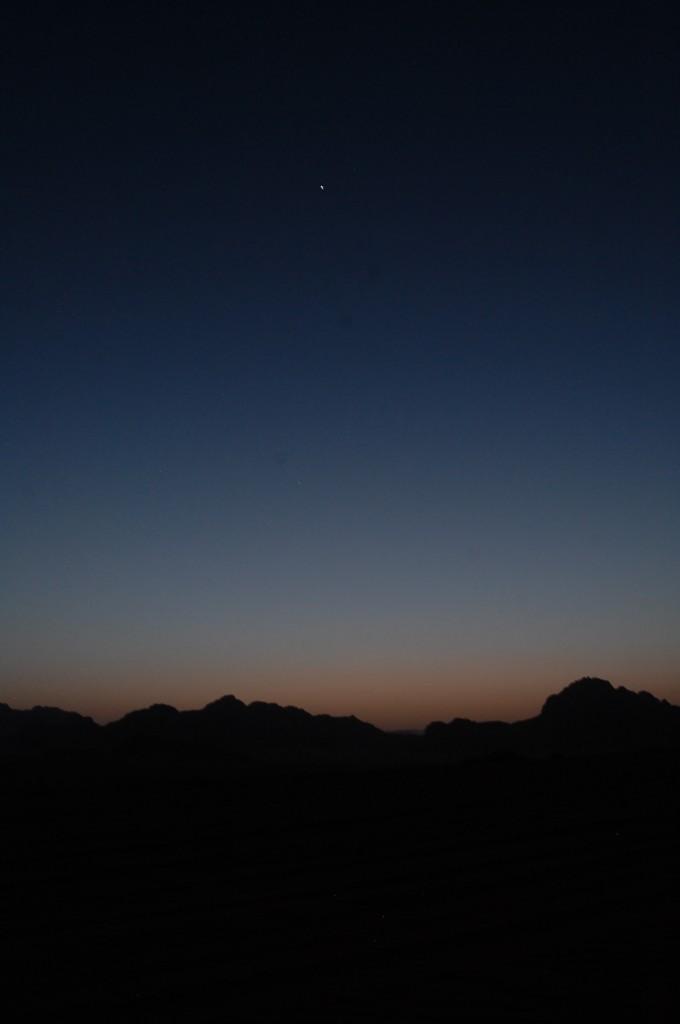 Beautiful night sky in the Wadi Rum Desert - camping with Bedouin