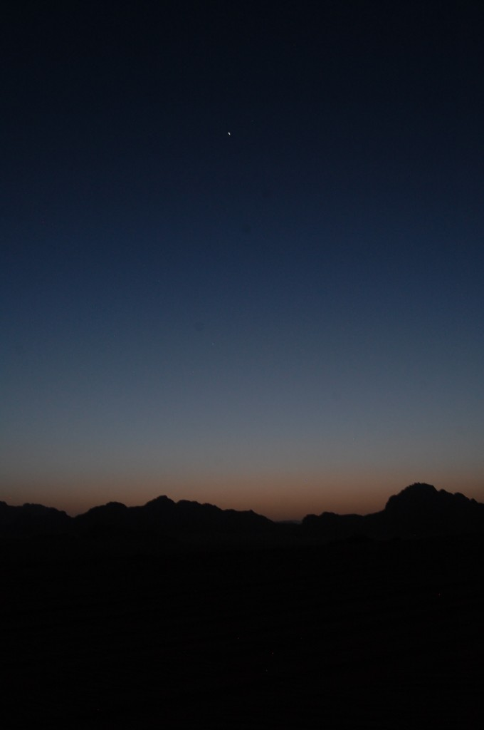 Beautiful night sky in the Wadi Rum Desert - camping with Bedouin