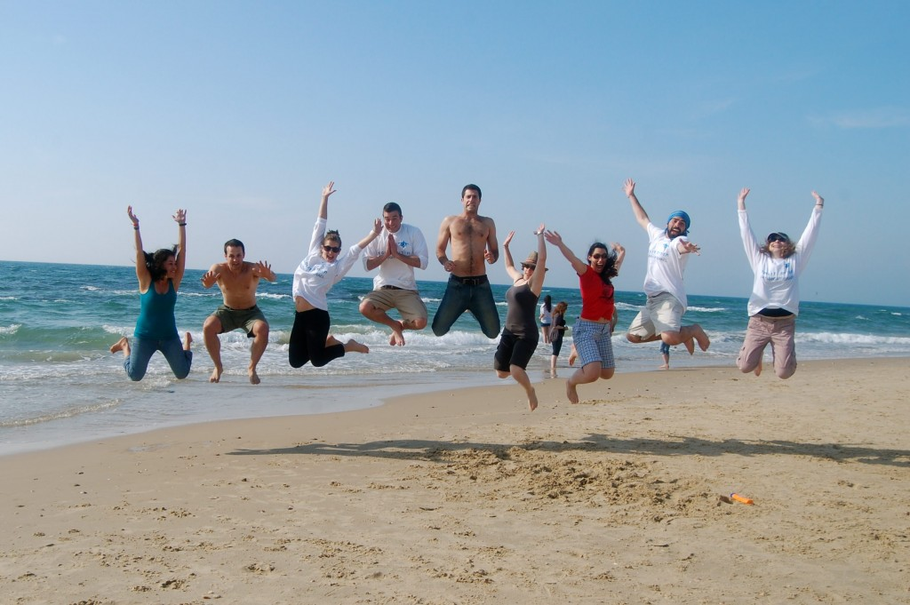 Jumping Birthright kids in Tel Aviv