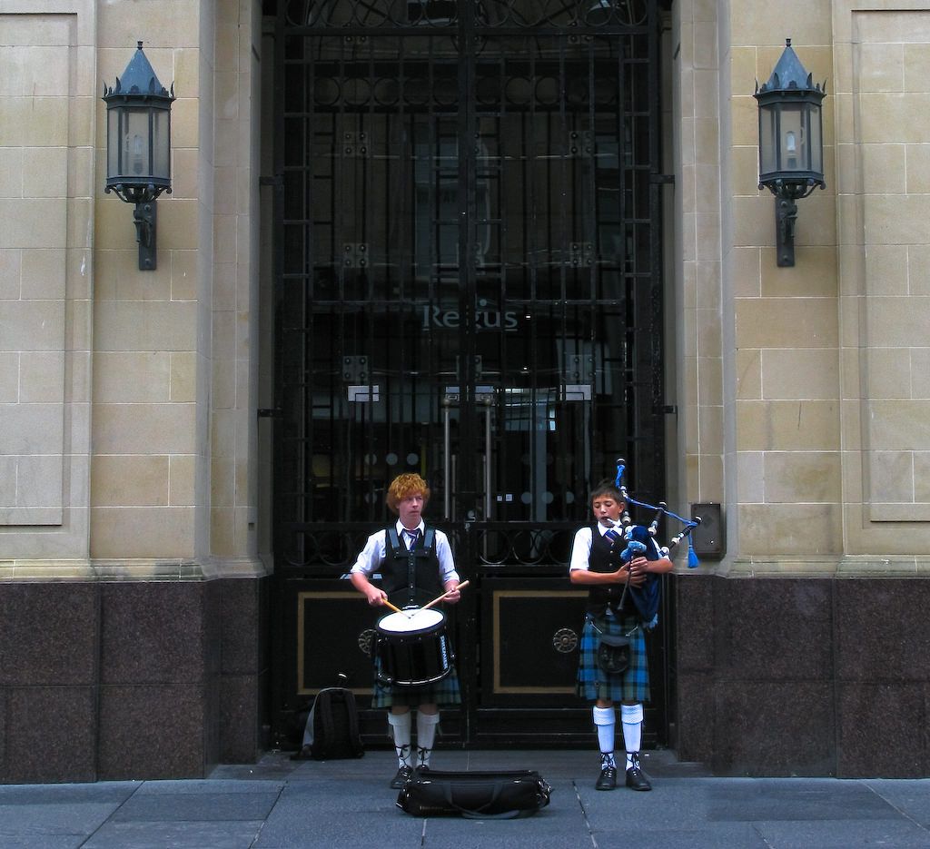 Bagpipers in Glasgow