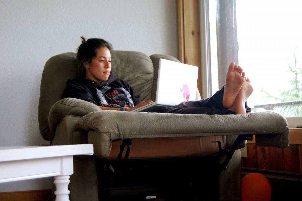 Girl looking at a computer