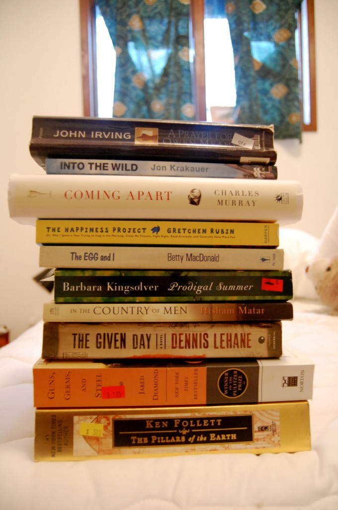 Stack of unfinished books