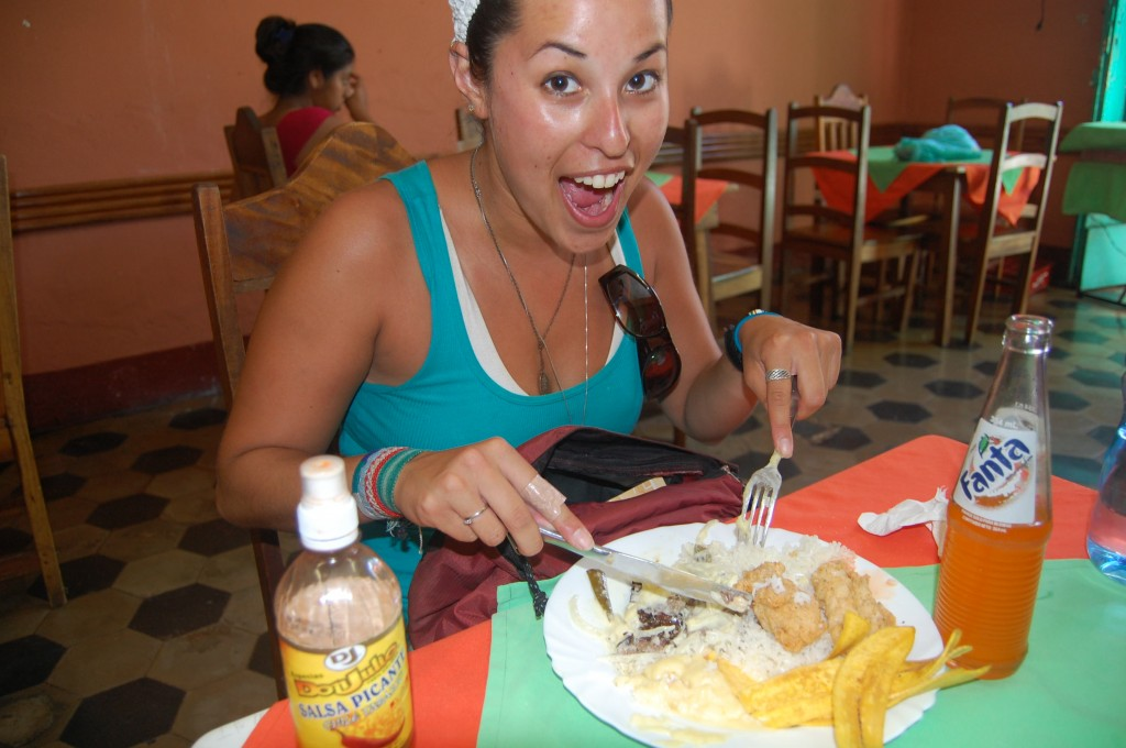 Eating plantains and rice in Nicaragua