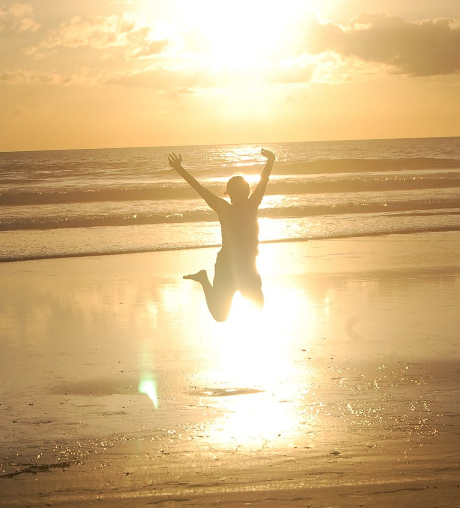 Jumping on the beach in Costa Rica