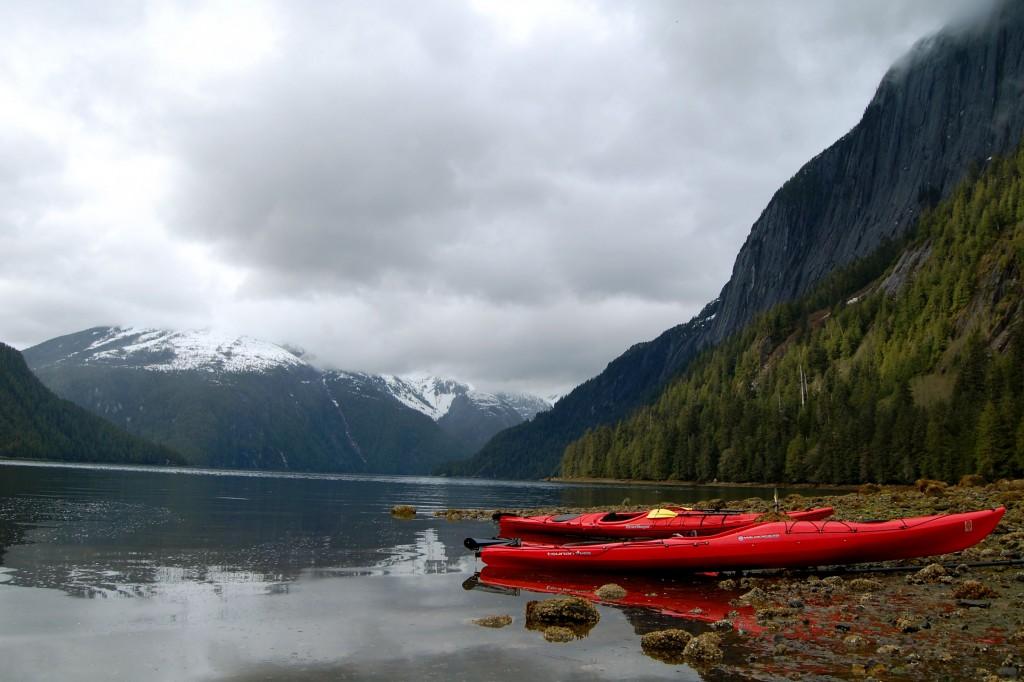 Kayaks in Misty Fjords National Monument, Alaska