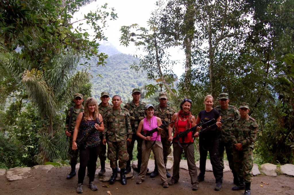 Posing with the Colombian military in Ciudad Perdida