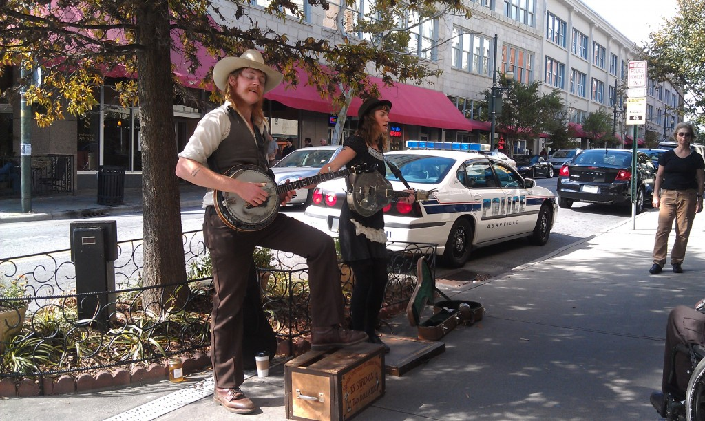 Street performers in Asheville, NC