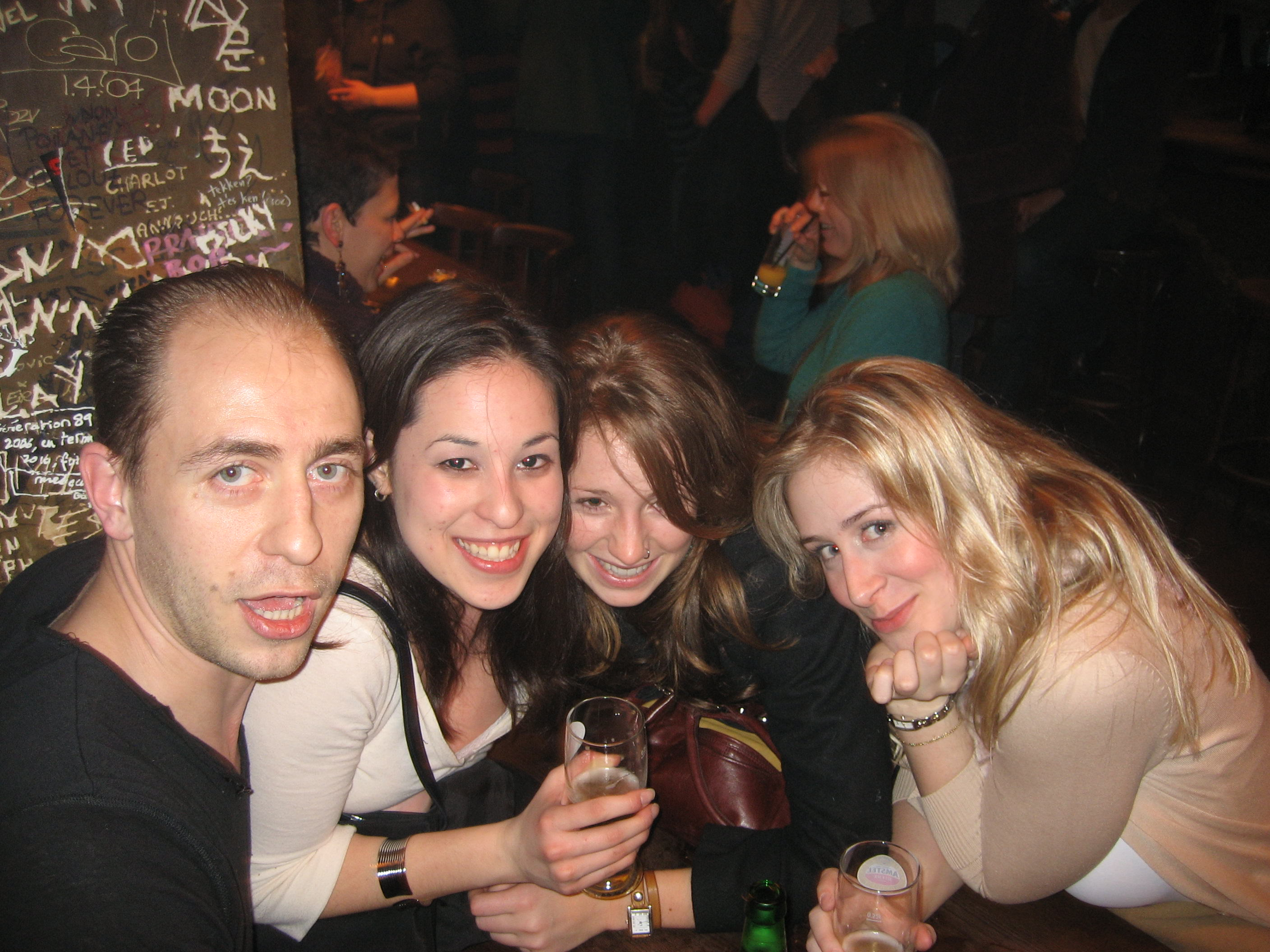 With friends at a Parisian cave bar