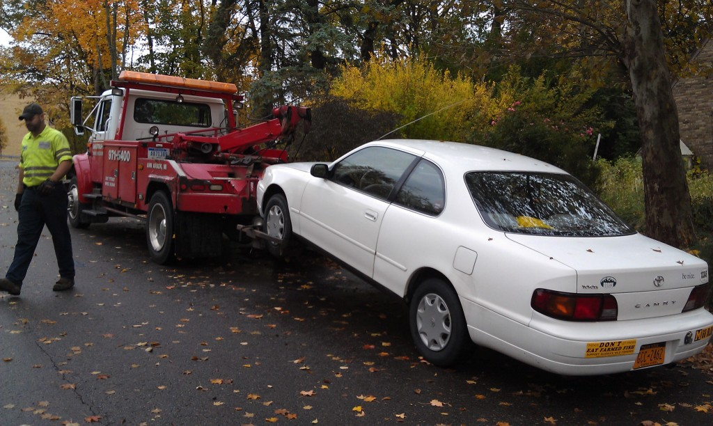 Camry being towed