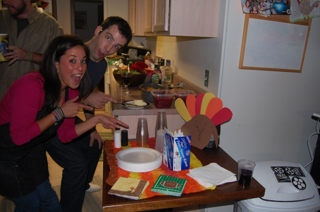 Posing with thanksgiving paper turkey