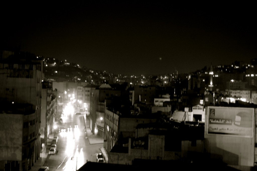 Night traffic in Amman, Jordan