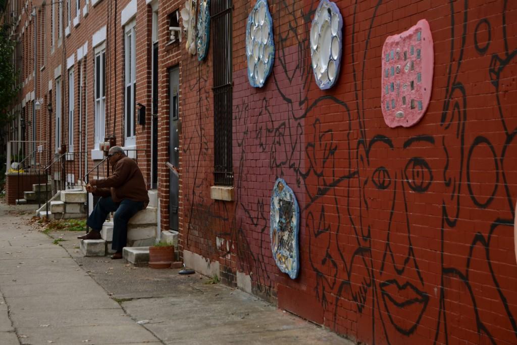 Man on street in Philadelphia, PA.