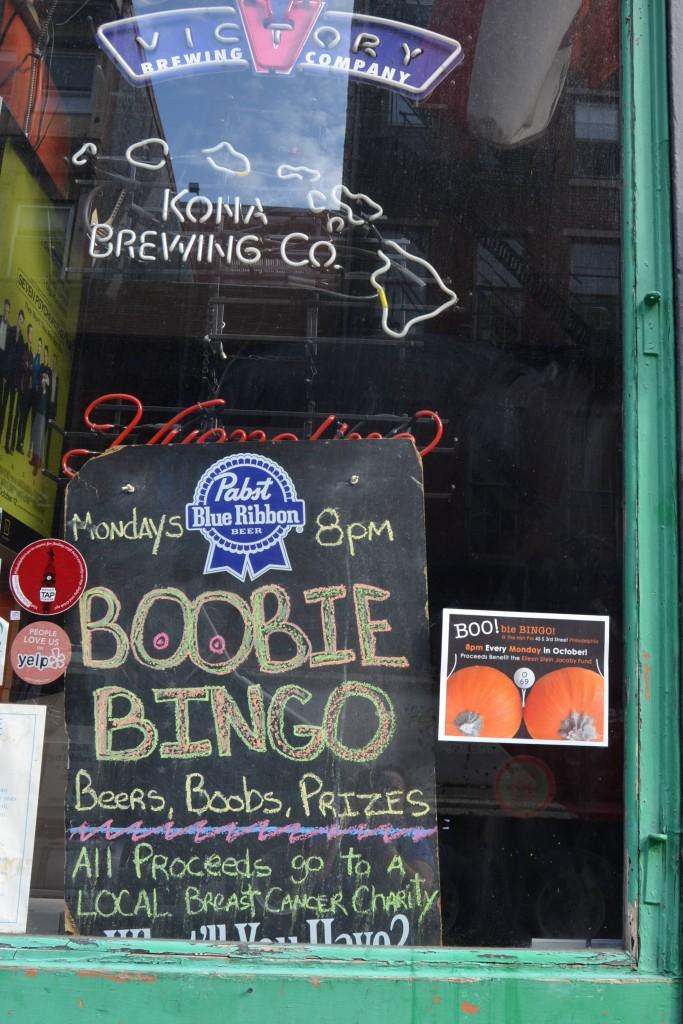Bar window in Philadelphia, PA.