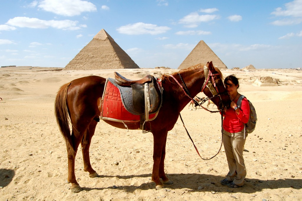 Horse and girl at the Great Pyramids