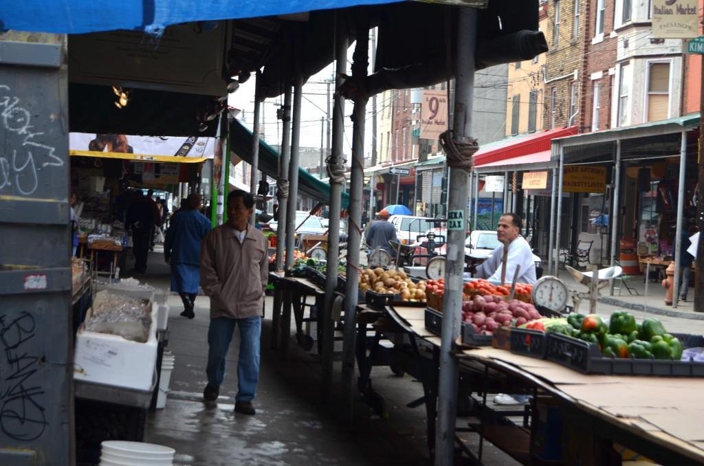 Italian Market food stands in Philadelphia, PA.
