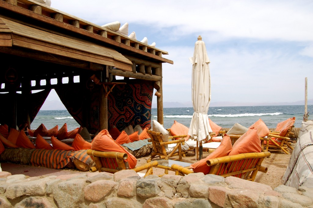 Beachfront restaurant in Dahab, Egypt