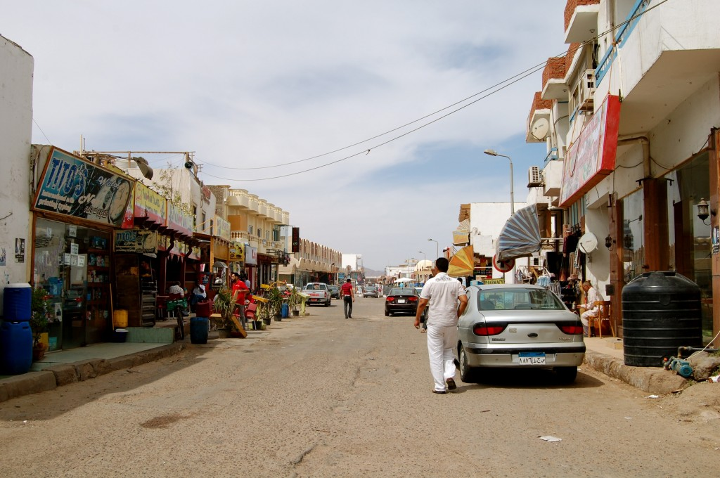 Downtown street in Dahab, Egypt